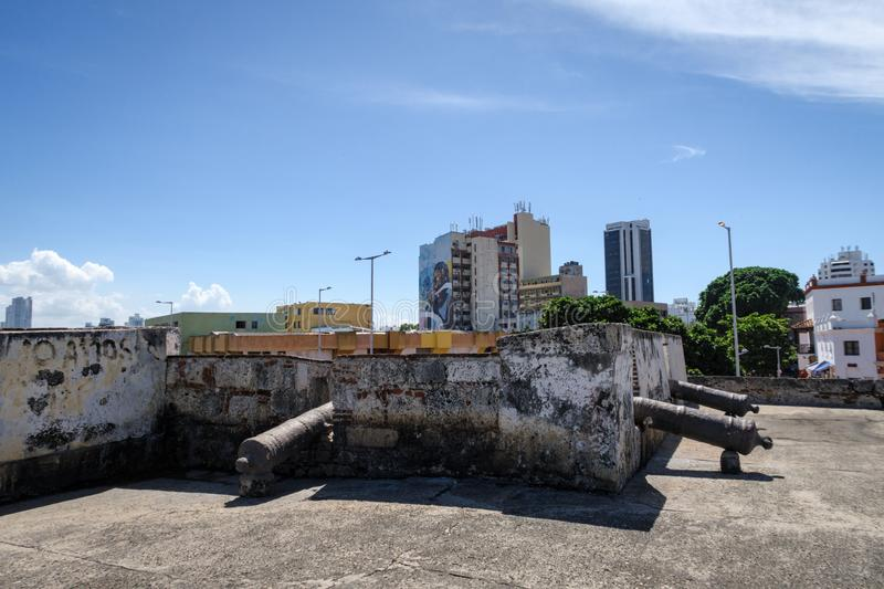 Cartagena de Indias, Bolivar/Colombia, December 13, 2017: Defensive wall in front of skyline at walled city of Cartagena, Colombia. South America royalty free stock photos