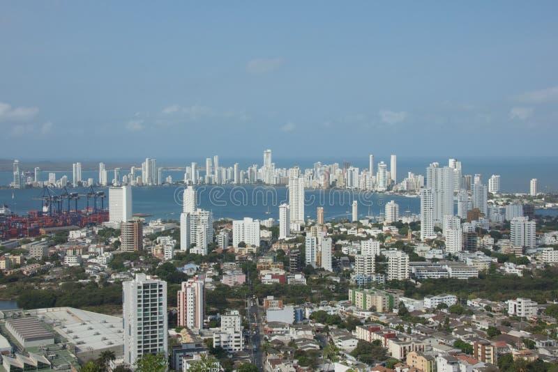 Cartagena fjärd i Colombia royaltyfri fotografi