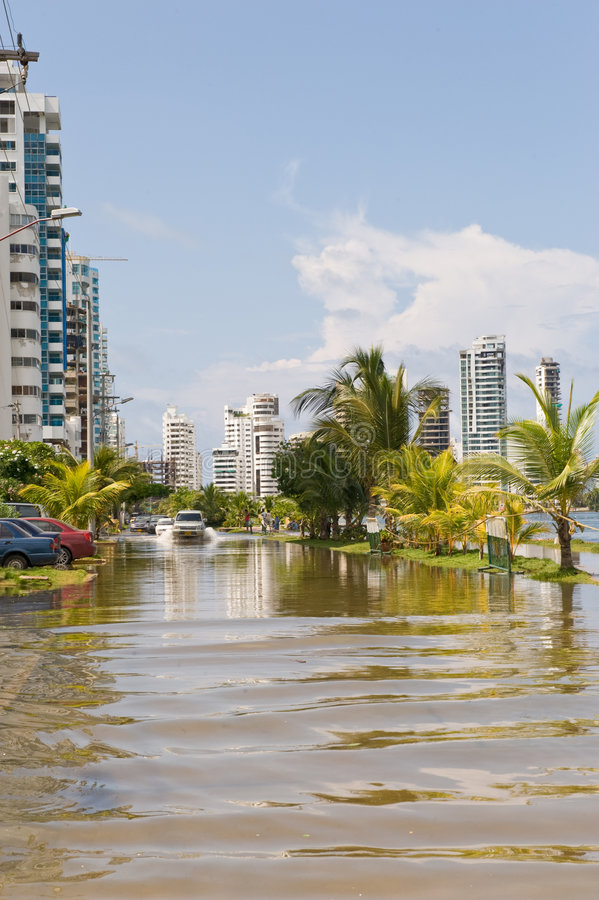 Download Cartagena flooded street stock photo. Image of global - 9095782