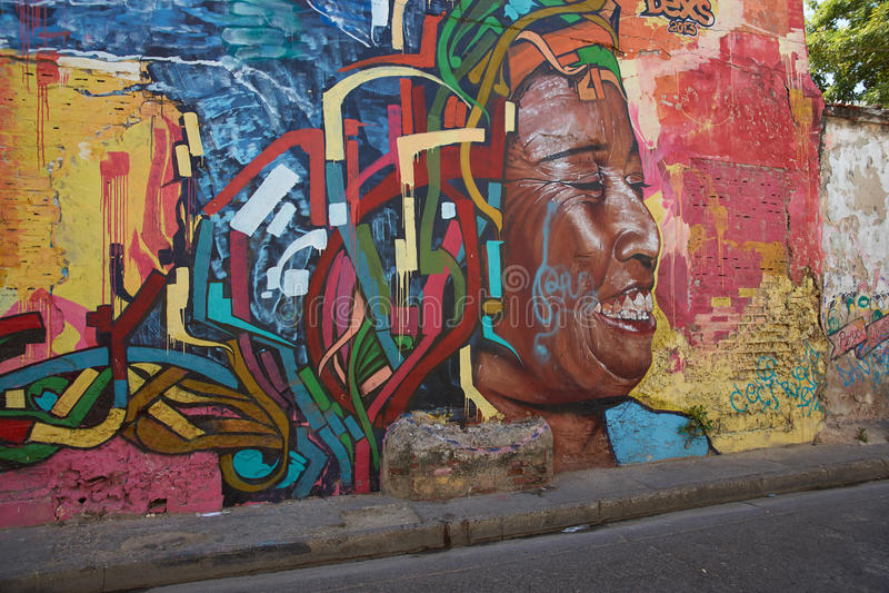 Cartagena gatakonst royaltyfri foto
