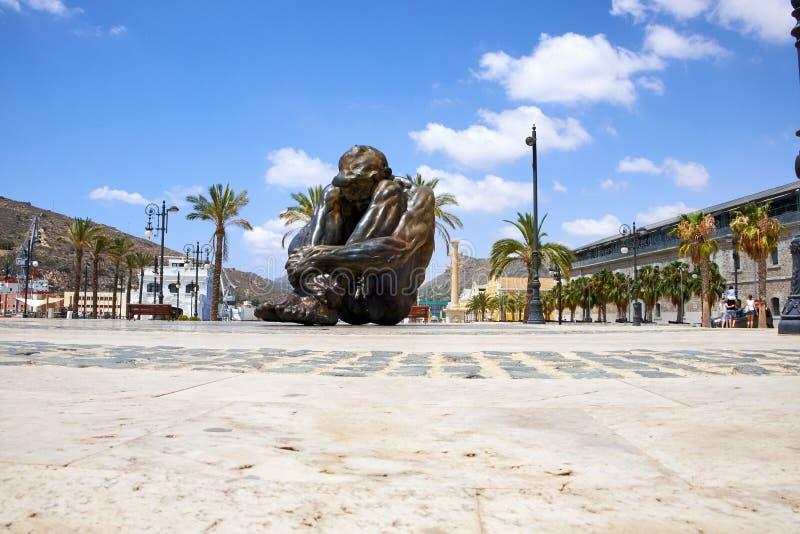 Cartagena Hiszpania, Lipiec, - 13, 2016: Zabytek El Zulo, tworzący rzeźbiarza zwycięzcą Ochoa Dedykujący ofiary terror obrazy stock