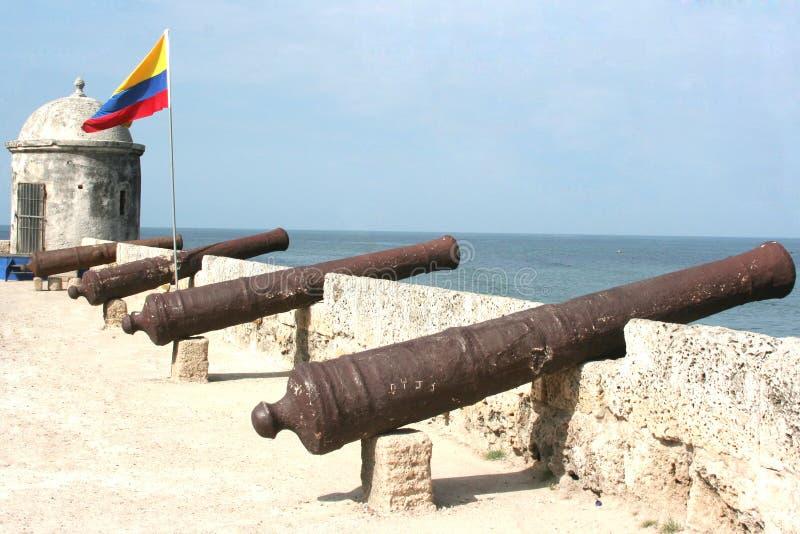 Cartagena-Kanonen stockfotografie