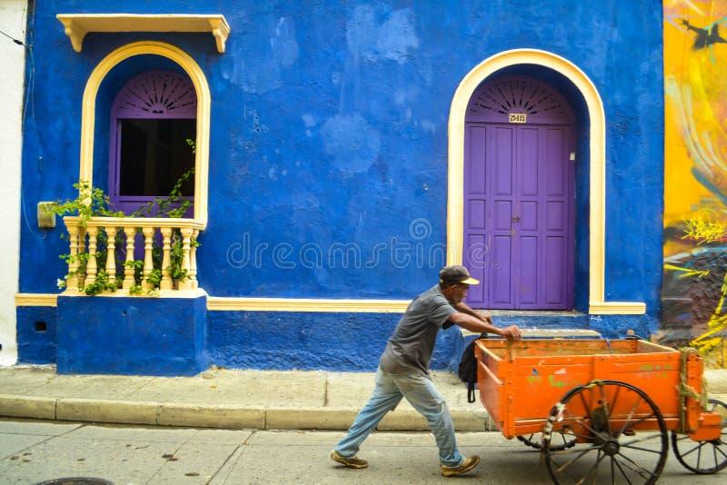 Cartagena, Kolumbia, Lipiec 28 2017, Kolorowa fasada w Getsemani sąsiedztwie w Cartagena Kolumbia fotografia stock