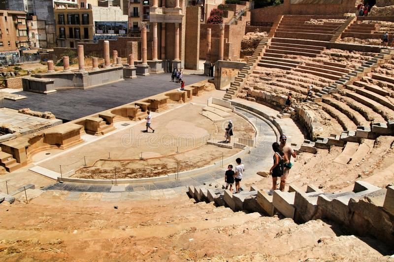 Archeological remains of the Roman amphitheater of Cartagena stock image