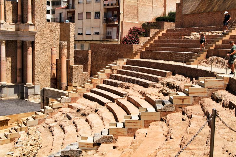 Archeological remains of the Roman amphitheater of Cartagena royalty free stock photo