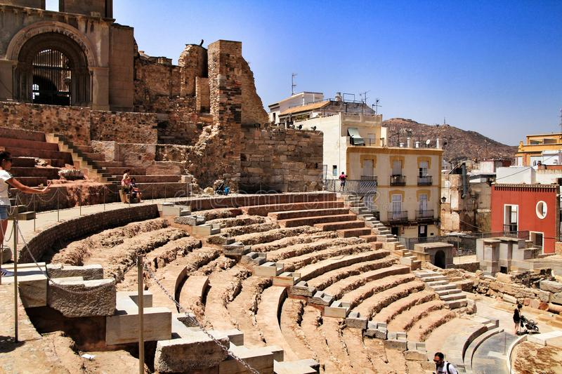 Archeological remains of the Roman amphitheater of Cartagena stock photo