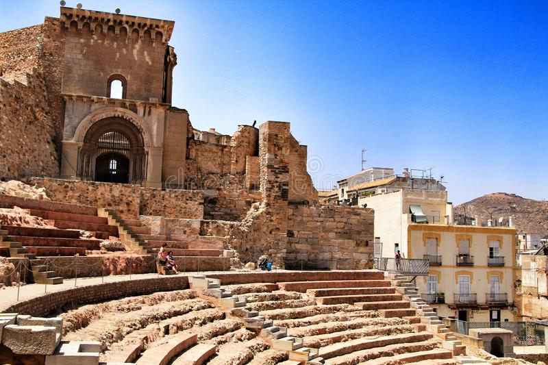Archeological remains of the Roman amphitheater of Cartagena stock photos