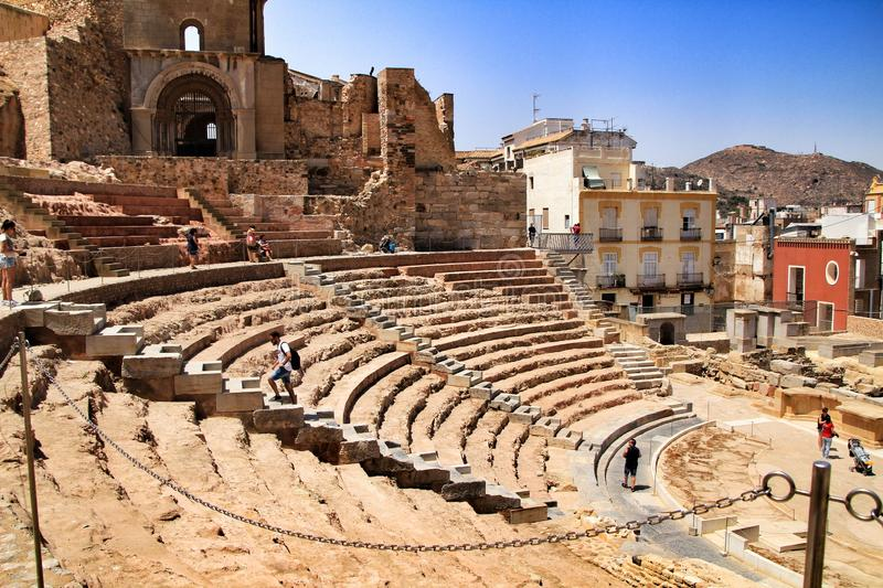 Archeological remains of the Roman amphitheater of Cartagena royalty free stock photography