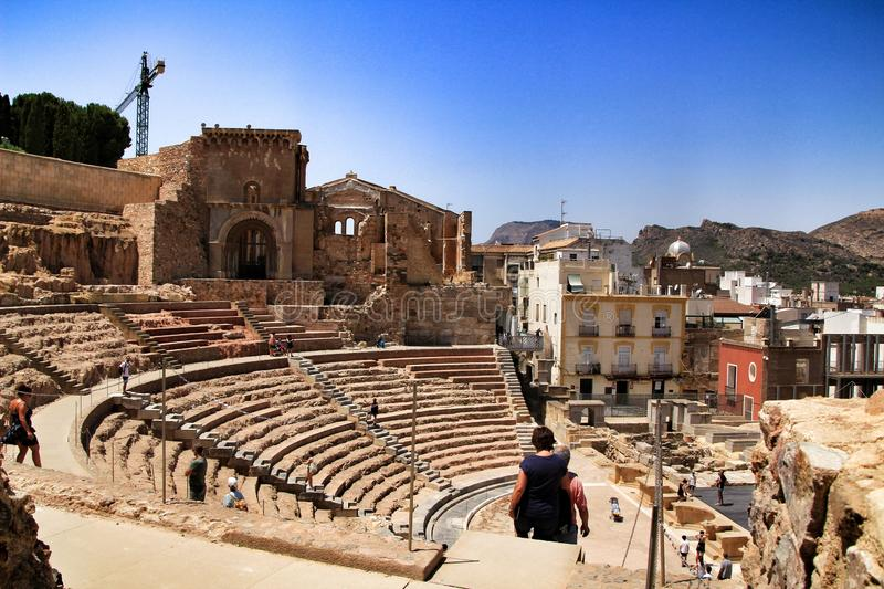 Archeological remains of the Roman amphitheater of Cartagena royalty free stock photos