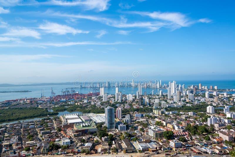 Cartagena panorama royaltyfri foto