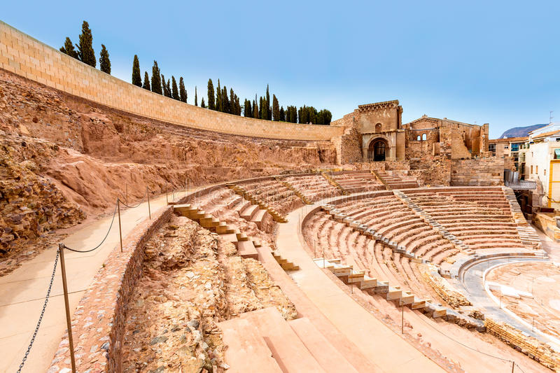 Cartagena Roman Amphitheater in Murcia Spanje royalty-vrije stock foto