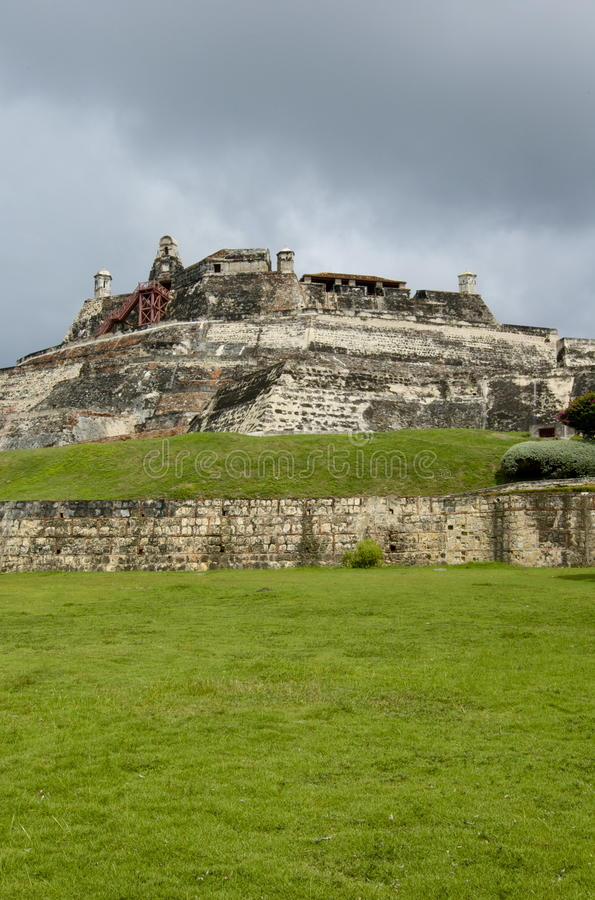 cartagena slott colombia felipe san royaltyfria bilder