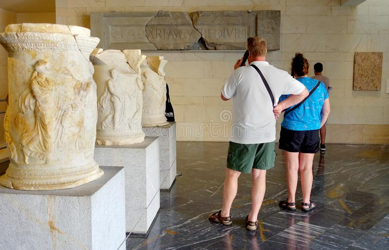 Cartagena, Spain - August 1 2018: Visitors to the roman Museum, stock images
