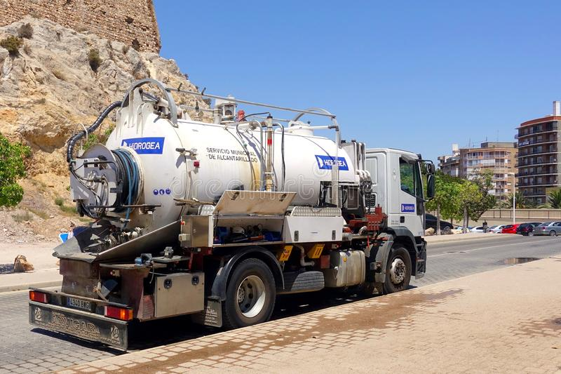 Cartagena, Spain - August 1 2018: Water tanker truck belonging t. O the Spanish environmental company HiDROGEA, maintaining the highway water system stock photo