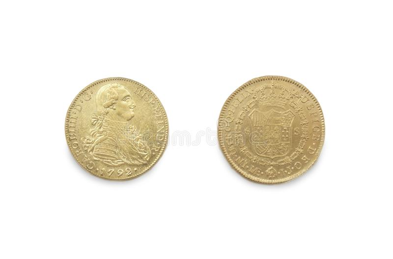 Cartagena, Spain - September 14th, 2018: Gold spanish pieces of eight or Charles III escudos, minted in 1792 at ARQUA Museum, royalty free stock images