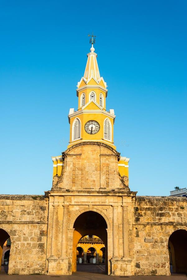 Cartagena Zegarowy wierza brama obrazy stock