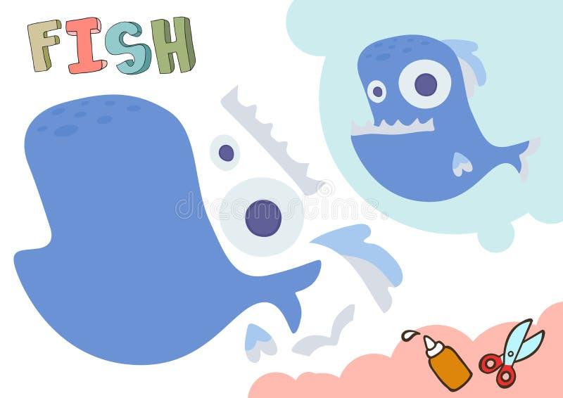 Cartamodello divertente del pesce Piccolo progetto domestico del mestiere, gioco di carta di DIY Tagliato e colla Ritagli per i b royalty illustrazione gratis