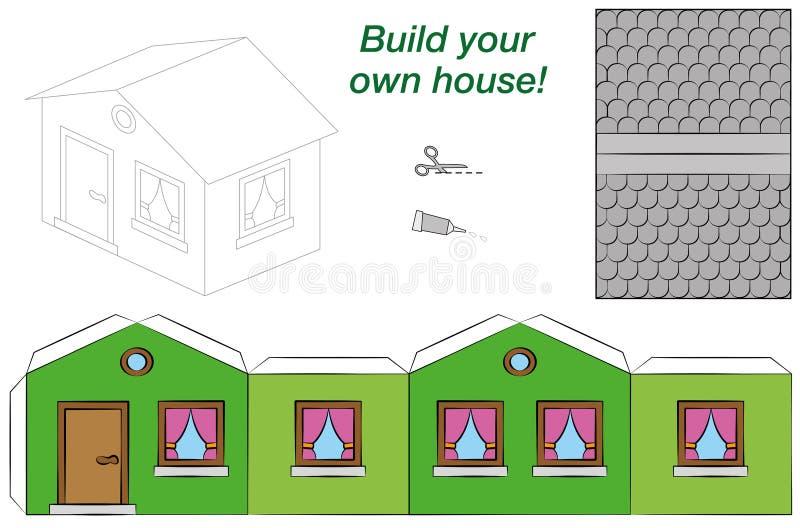 Cartamodello House Template Green royalty illustrazione gratis