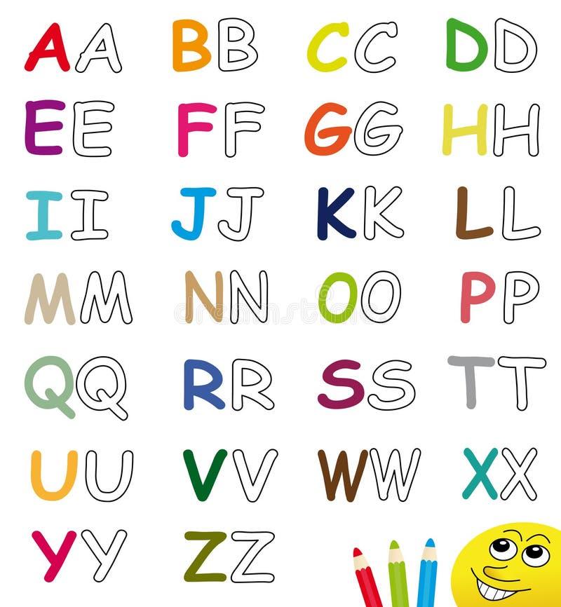 Cartas coloridas y en blanco del alfabeto libre illustration