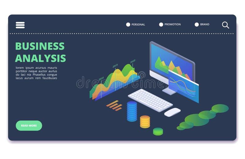 Cartas das estatísticas de negócio, conceito do vetor dos diagramas Molde financeiro da bandeira da analítica ilustração royalty free
