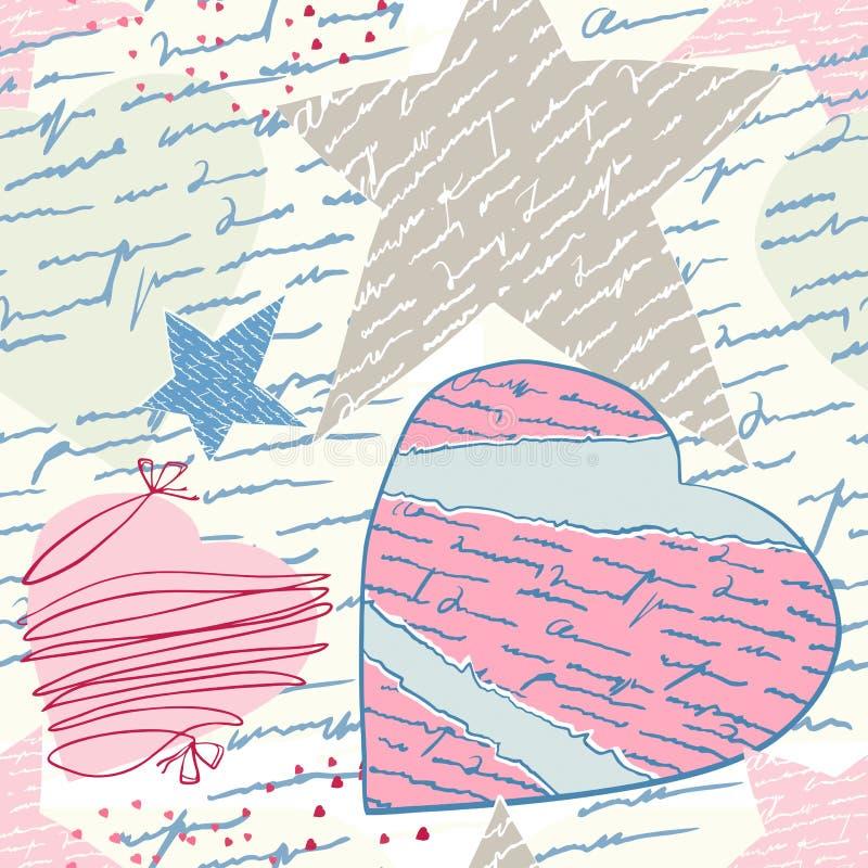 Cartas de amor inconsútiles ilustración del vector