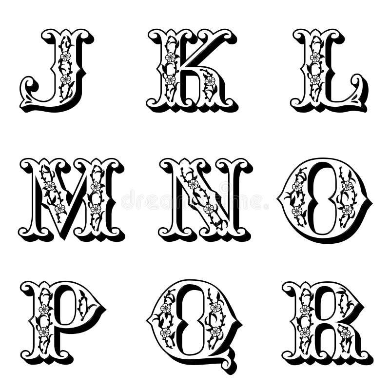 Cartas de capital 2 de la flor stock de ilustración