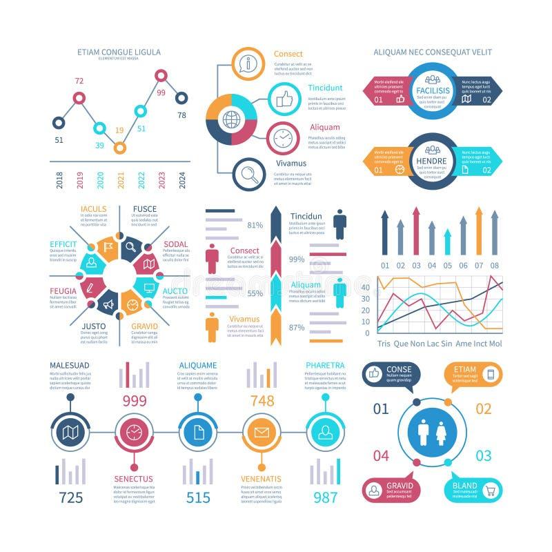 Cartas de Infographic Os elementos de Infochart, carta de mercado e gráficos, barram diagramas Etapa e gráfico do processo da opç ilustração do vetor