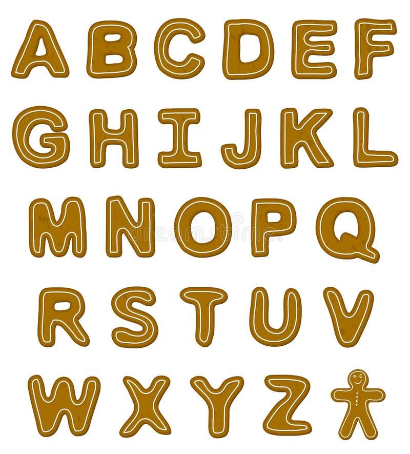 Cartas de la fuente del pan de jengibre ilustración del vector