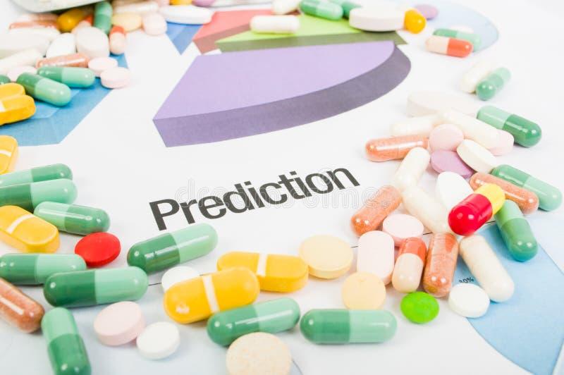 Cartas de la predicción de las ventas de la medicina fotografía de archivo libre de regalías