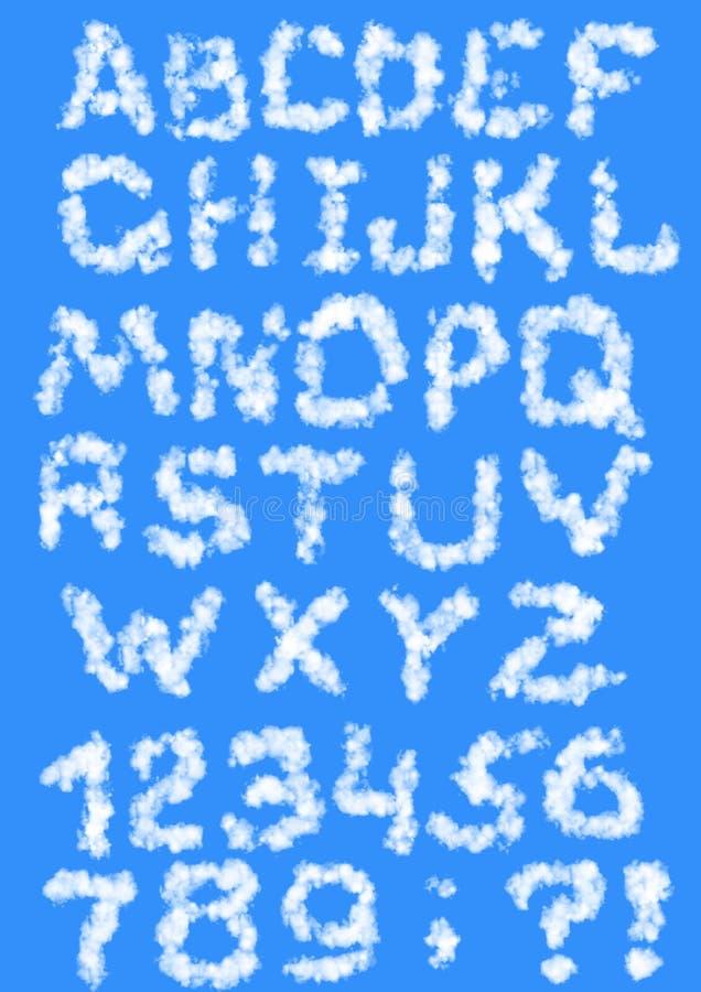 Cartas de las nubes stock de ilustración