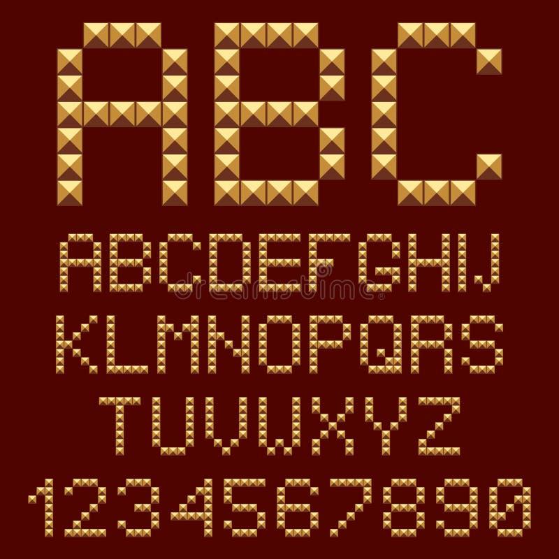 cartas de los alfabetos del oro 3d. ilustración del vector