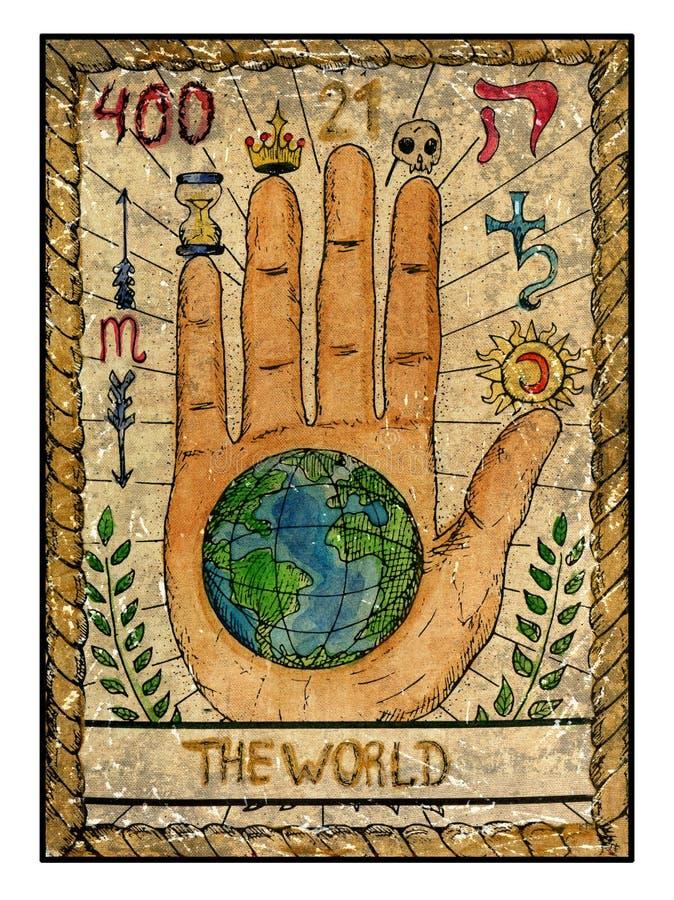 Cartas de tarot viejas Cubierta llena El mundo libre illustration