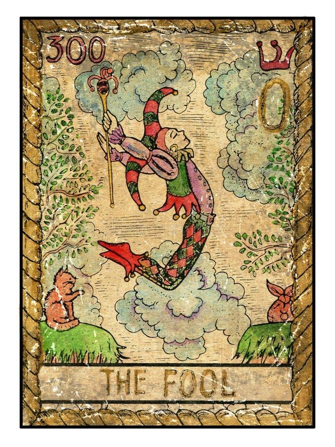 Cartas de tarot viejas Cubierta llena El tonto ilustración del vector