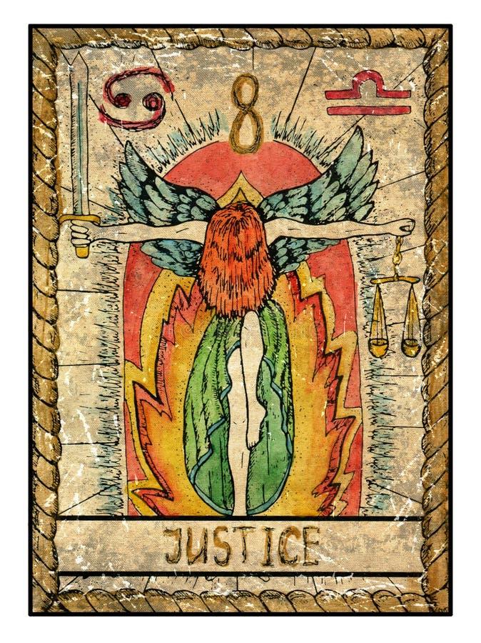 Cartas de tarot viejas Cubierta llena justicia ilustración del vector