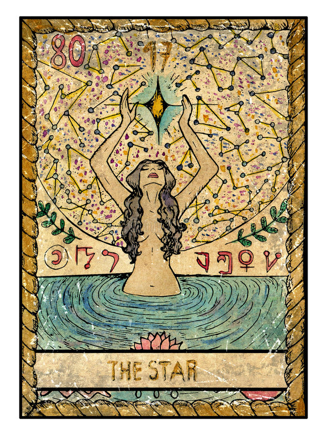 Cartas de tarot viejas Cubierta llena La estrella libre illustration