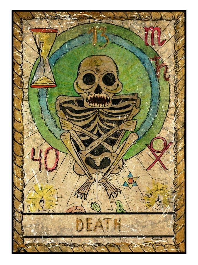 Cartas de tarot viejas Cubierta llena muerte ilustración del vector
