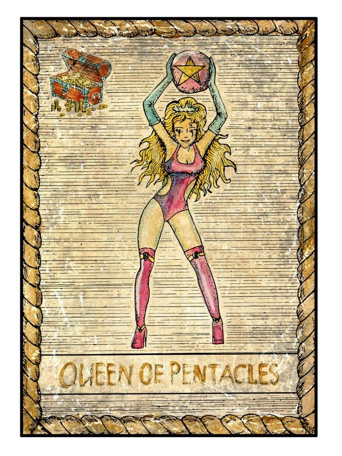 Cartas de tarot viejas Cubierta llena Reina de pentáculos stock de ilustración