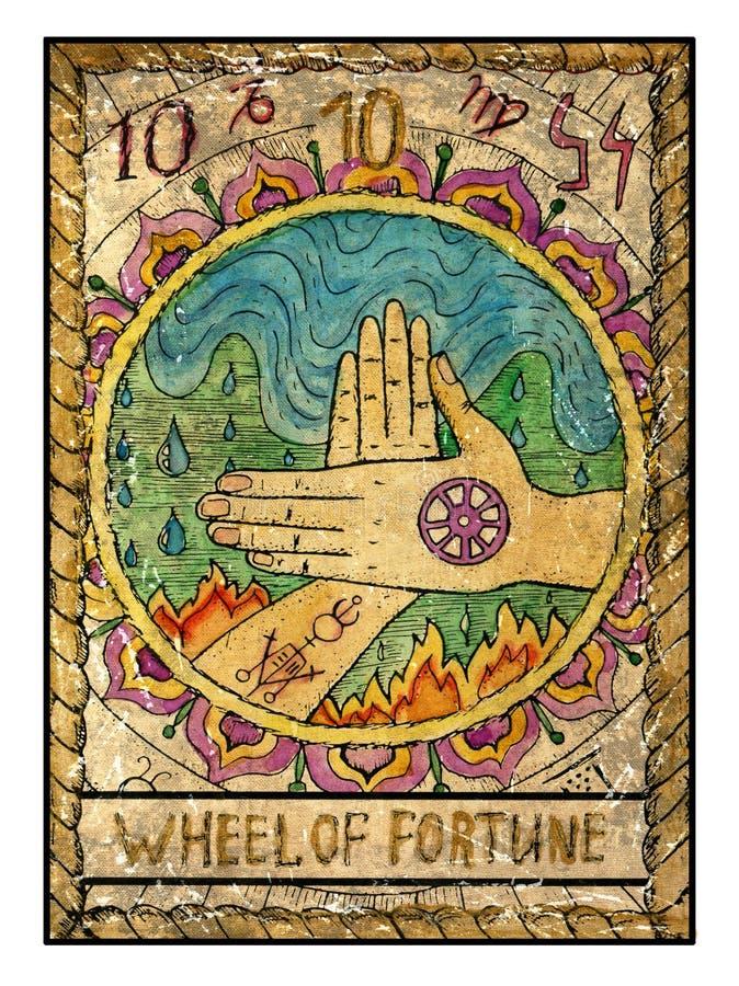 Cartas de tarot viejas Cubierta llena Rueda de la fortuna stock de ilustración