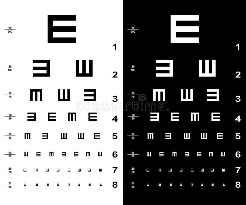 Cartas de teste do olho ilustração royalty free