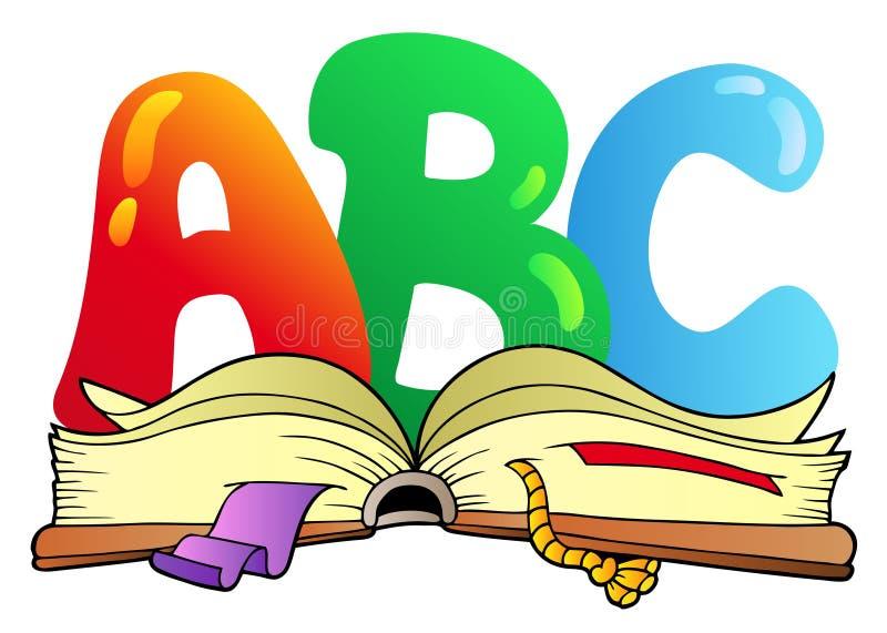 Cartas del ABC de la historieta con el libro abierto ilustración del vector