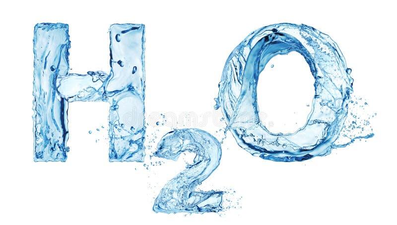 Cartas del agua de H2O stock de ilustración