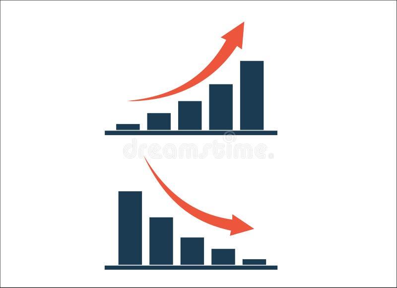 Cartas del crecimiento y de la disminución de la columna con el icono aislado flechas stock de ilustración