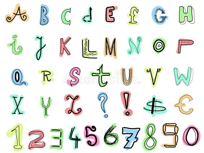 Cartas del Doodle ilustración del vector
