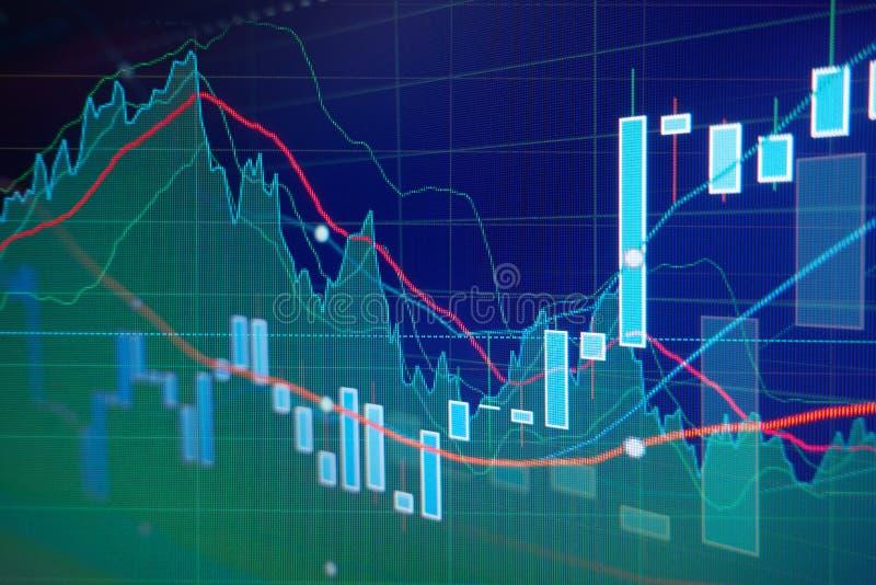 Cartas del gráfico de la vela del mercado de acción fotografía de archivo libre de regalías
