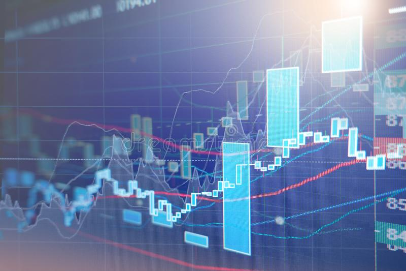 Cartas del gráfico del mercado de acción fotos de archivo libres de regalías