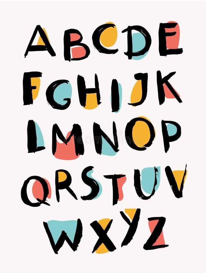 Cartas drenadas mano Alfabeto con estilo ABC de moda libre illustration