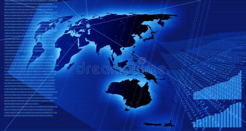 Cartas e dados no mapa de mundo ilustração stock
