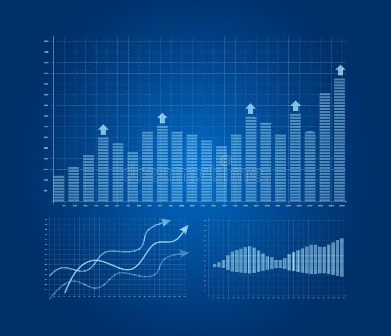 Cartas e gráficos ajustados ilustração stock