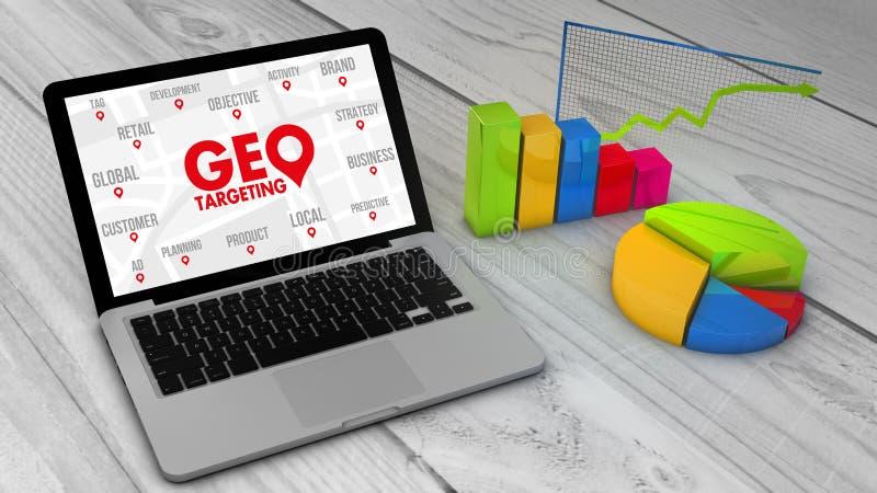 Cartas e gráficos de Stadistics com o geo que visa em um lapt do screem ilustração do vetor