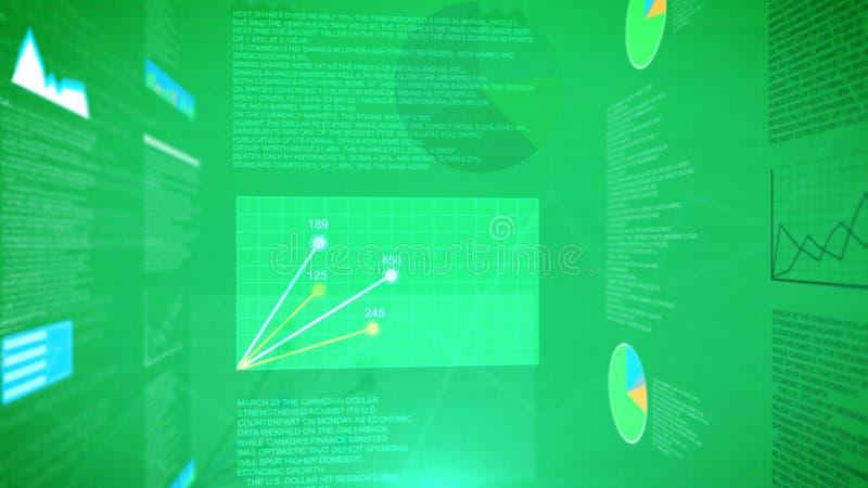 Cartas e gráficos financeiros abstratos com um fundo verde ilustração stock